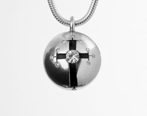 Russian Style Cross Silver Ball Pendant