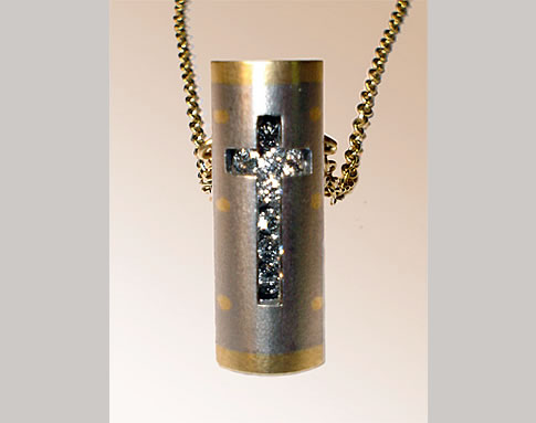 Diamond Box Pendant with Cross